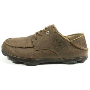 Olukai Hamakua Poko Brown Leather Lace Up Sneakers